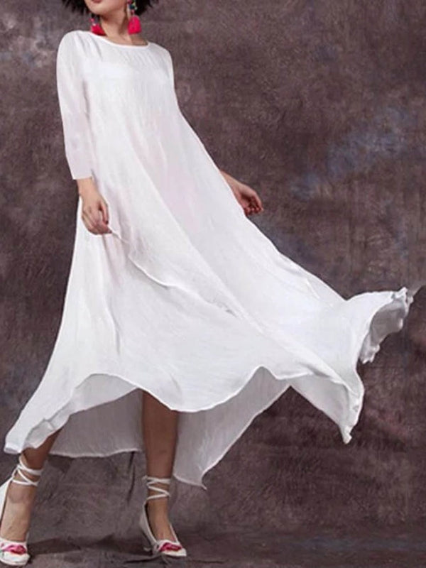 Ankle-Length Three-Quarter Sleeve Round Neck Summer Pullover Dress