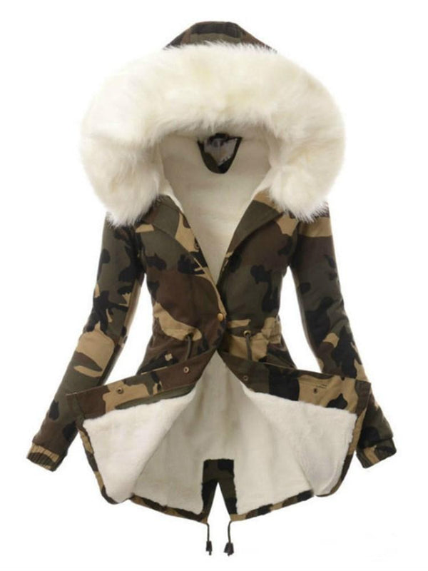 Thick Slim Print Mid-Length Cotton Padded Jacket
