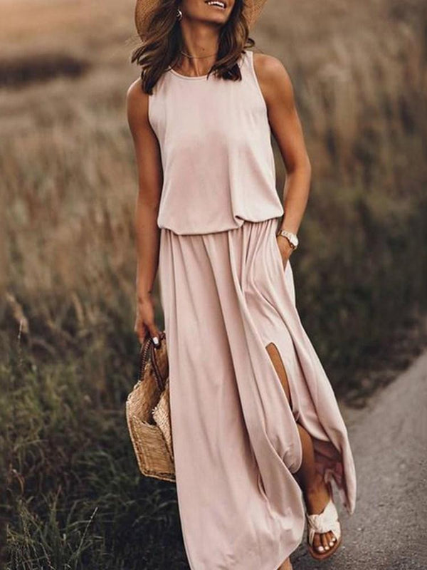 Sleeveless Round Neck Floor-Length Mid Waist Travel Look Dress