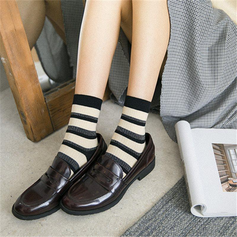 Korean Stripe Ventilation Socks