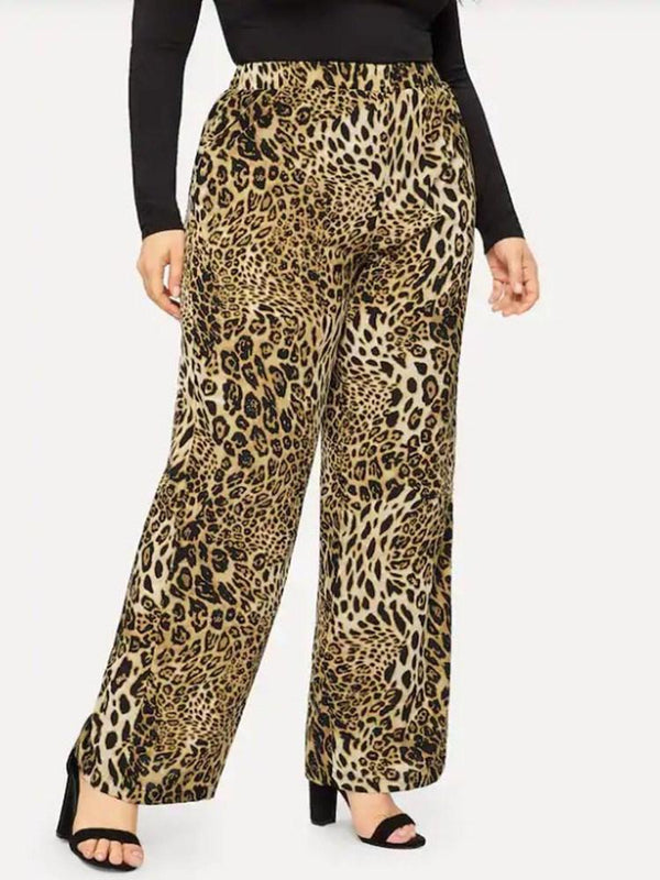 Loose Print Leopard Full Length Casual Pants