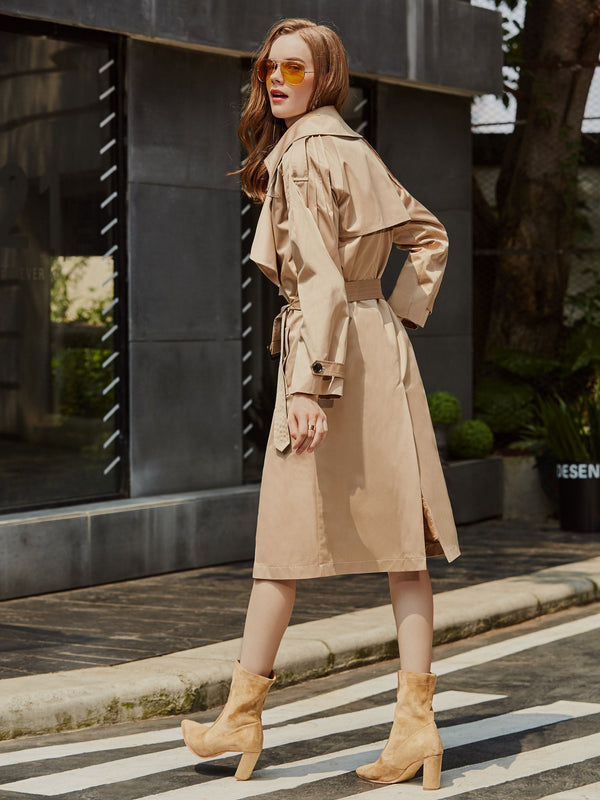 Mid-Length Double-Breasted Lapel Regular Loose Trench Coat
