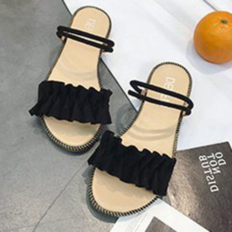 Slip-On Open Toe Block Heel Ankle Strap Casual Plain Sandals