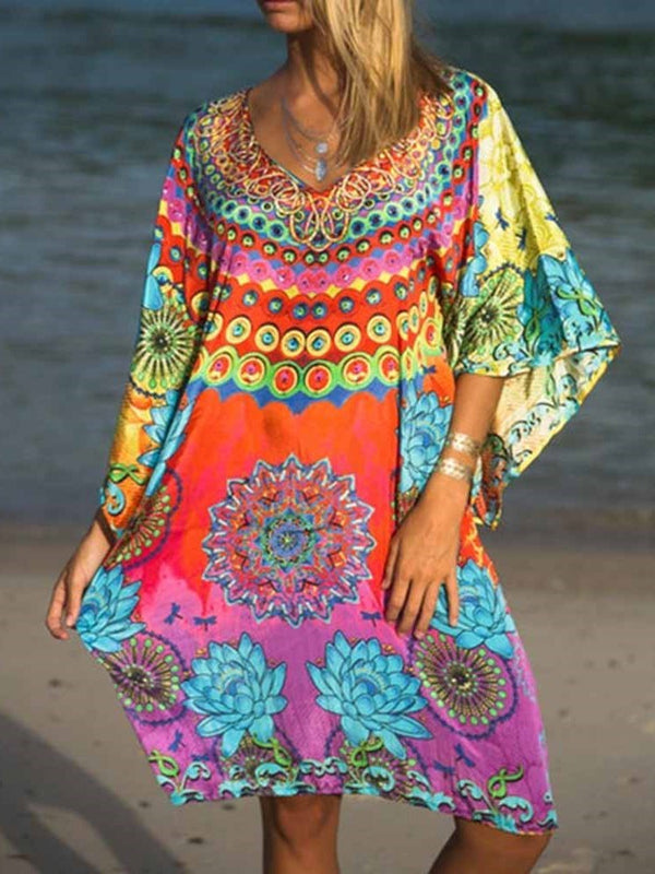 V-Neck Print Three-Quarter Sleeve A-Line Summer Dress