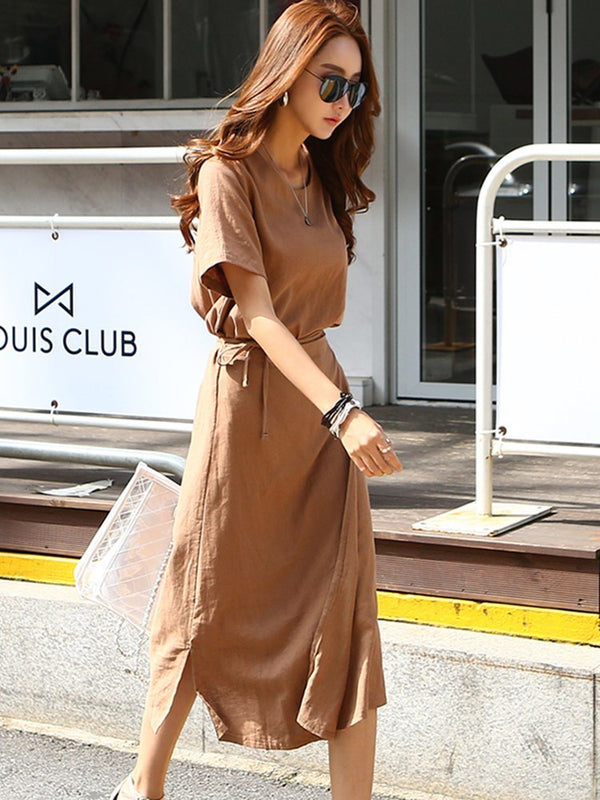 Round Neck Mid-Calf Lace-Up Pullover Office Lady Dress