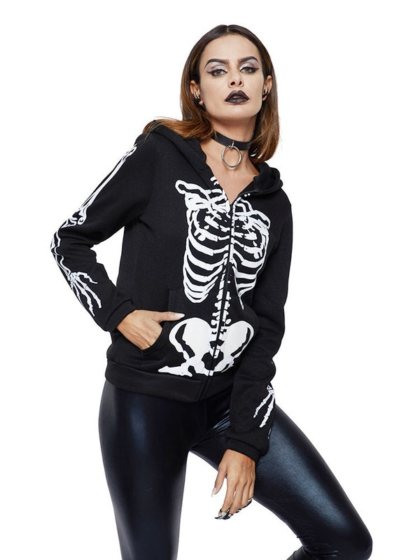 Regular Skull Zipper Long Sleeve Spring Hoodie