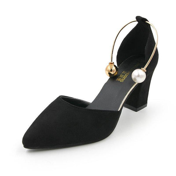 Chunky Heel Slip-On Pointed Toe Plain 7cm Thin Shoes