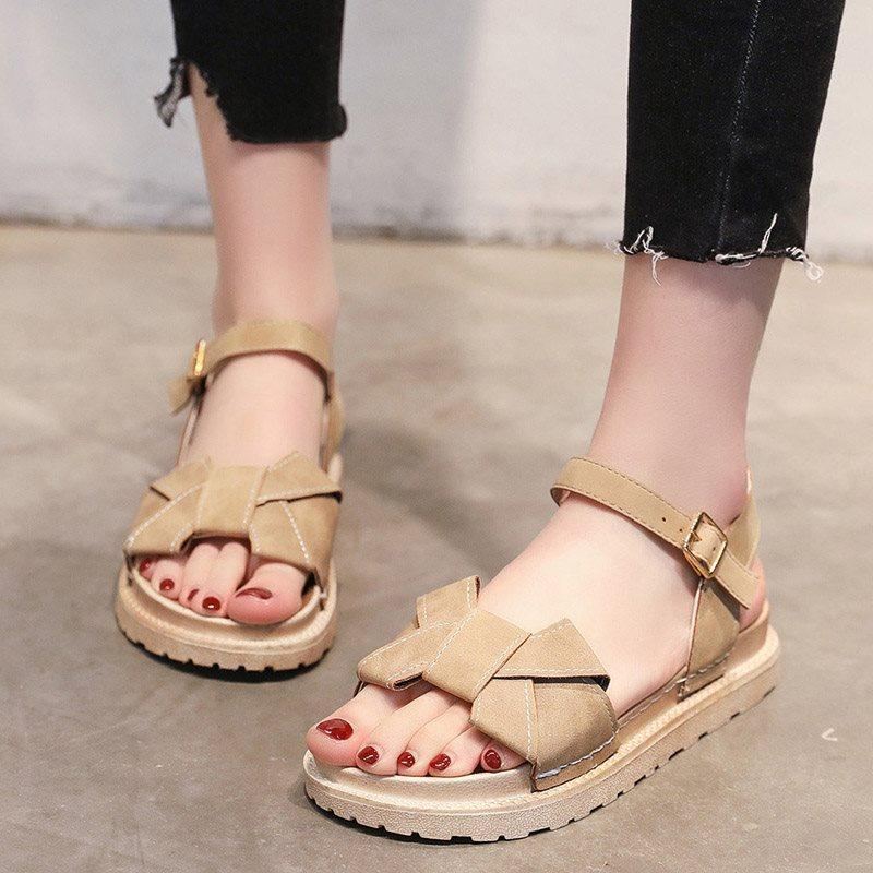 Platform Buckle Ankle Strap Open Toe Casual Plain Sandals