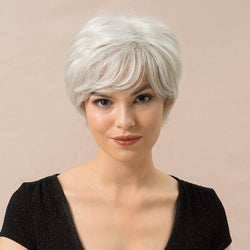 Human Hair Blend Wigs Capless Women Natural Straight 8 Inches Wigs