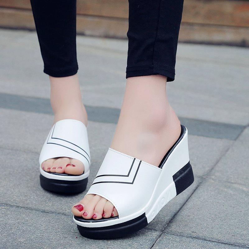 Platform Flip Flop Slip-On Wedge Heel Stripe Casual Slippers