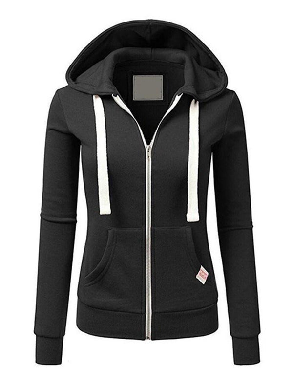 Plain Regular Zipper Spring Standard Hoodie