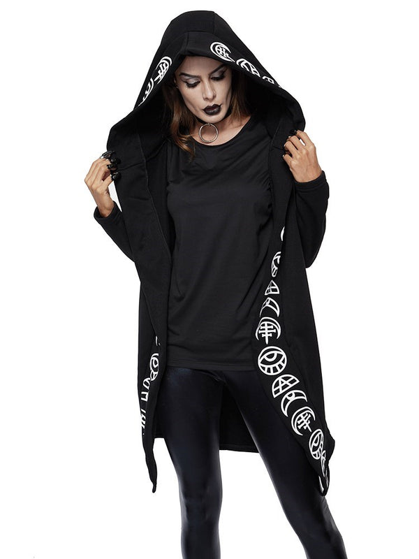 Plain Print Regular Hooded Long Sleeve Hoodie