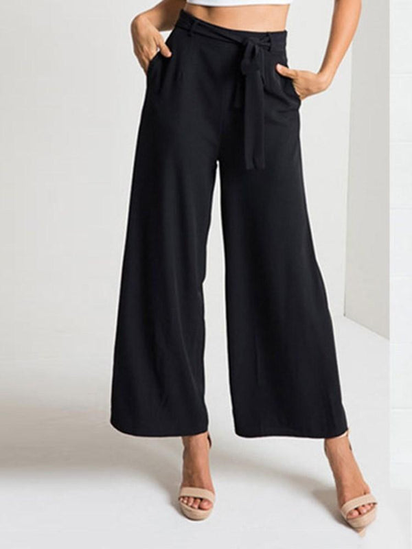 Bowknot Loose Plain Ankle Length Casual Pants