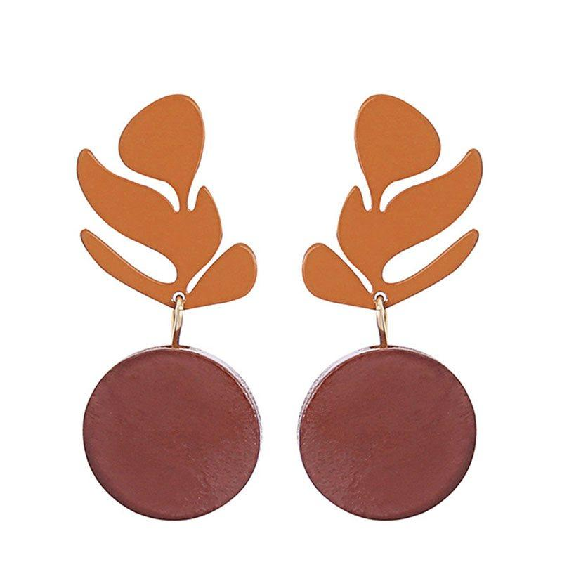 Color Block European Wood Birthday Earrings