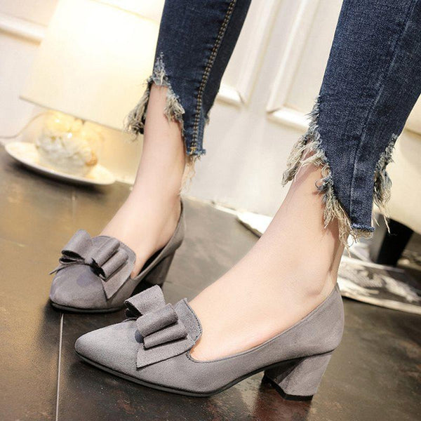 Pointed Toe Bow Slip-On Chunky Heel Low-Cut Upper Plain Thin Shoes
