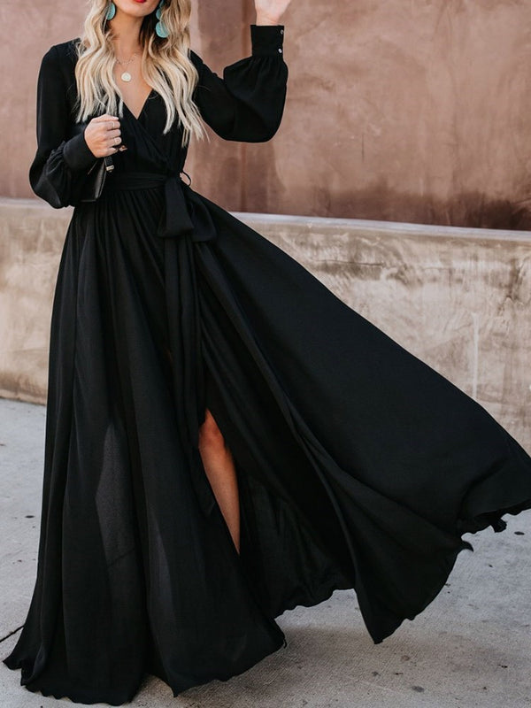 Split V-Neck Long Sleeve Fashion Plain Dress