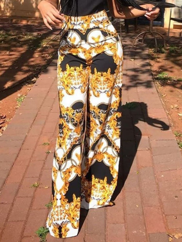 Slim Color Block Print Straight High Waist Casual Pants