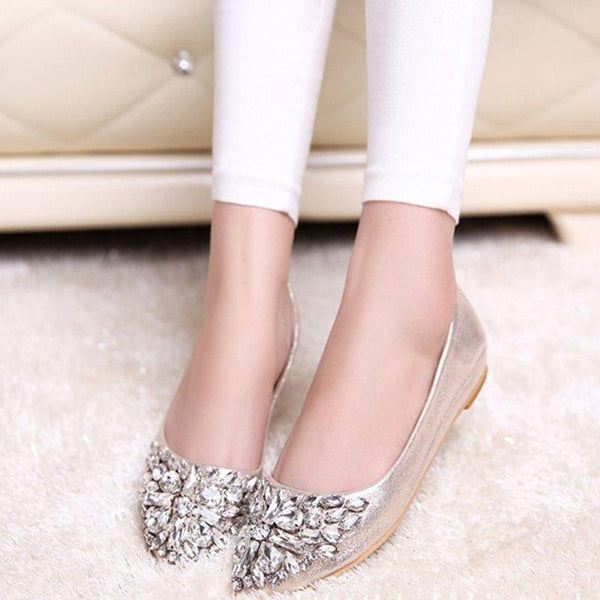 Pointed Toe Rhinestone Block Heel Slip-On Low-Cut Upper Plain Thin Shoes