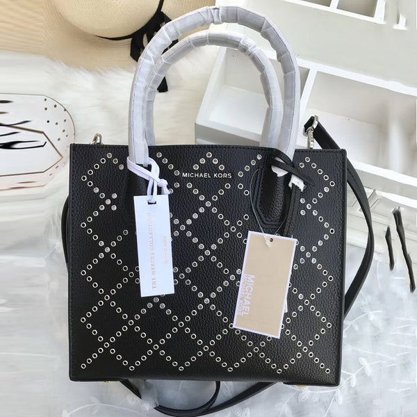 Thread Leather Plaid Square Tote Bags