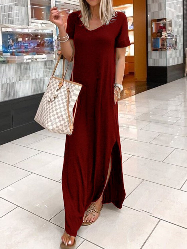Split Floor-Length V-Neck Summer Pullover Dress