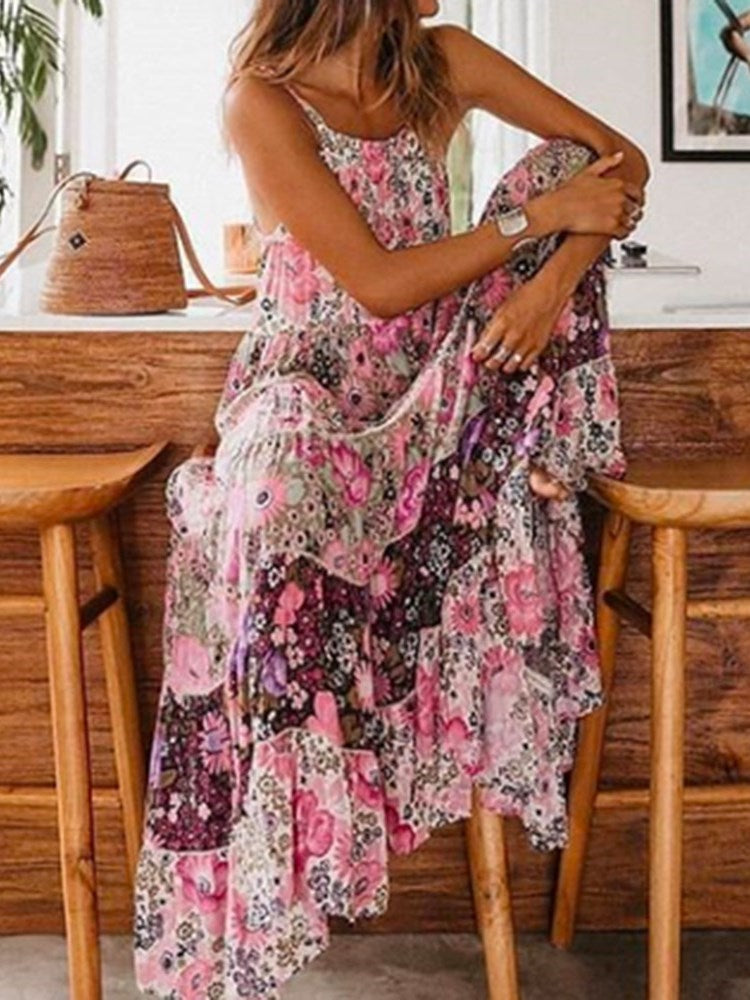 Print Ankle-Length Sleeveless Pullover Floral Dress