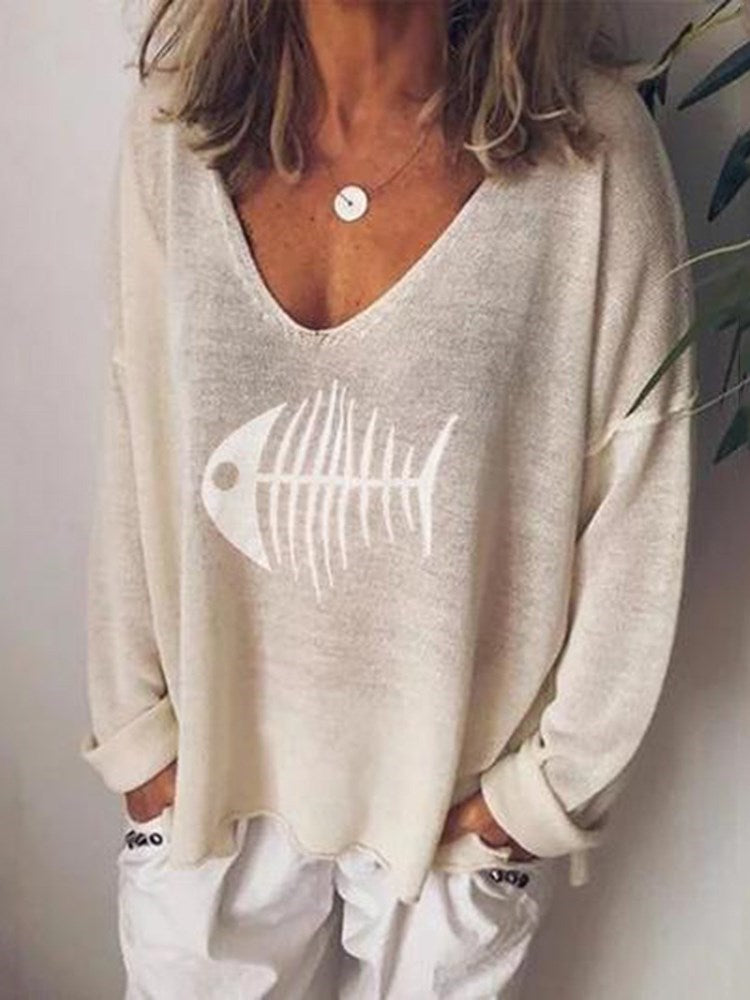 Print V-Neck Standard Long Sleeve Blouse