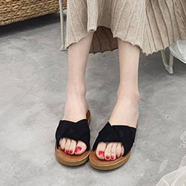 Slip-On Cross Block Heel Plain Casual Slippers