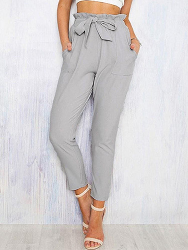 Belt Plain Slim Ankle Length Casual Pants