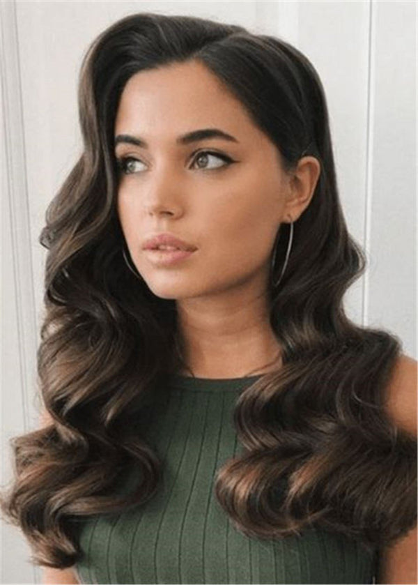 Human Hair Women Capless Wavy 22 Inches Wigs