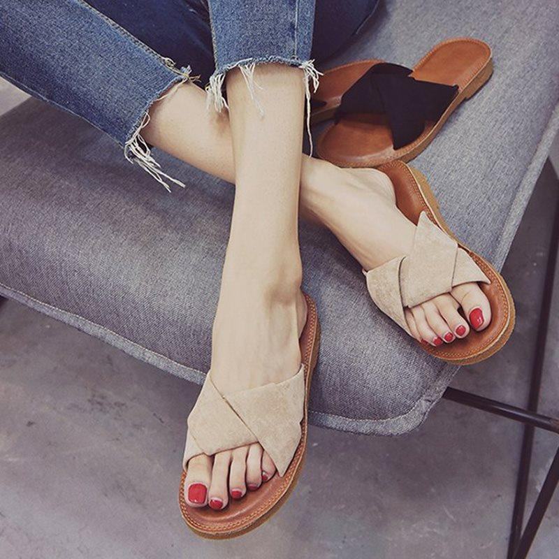 Cross Slip-On Block Heel Plain Spring Slippers