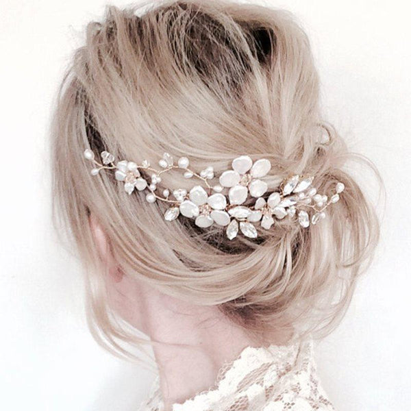 Pearl Inlaid Hair Comb Plant Sports Hair Accessories