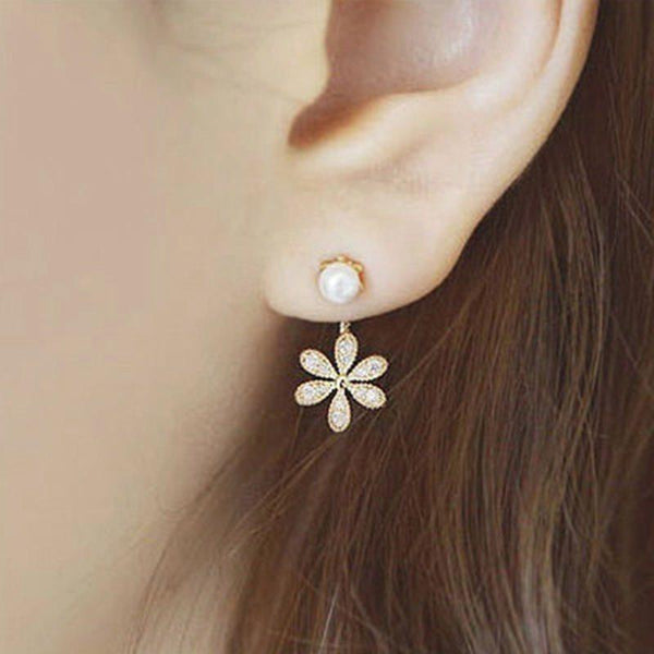 Floral Alloy Diamante Party Earrings