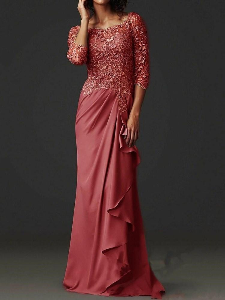 Three-Quarter Sleeve Floor-Length Round Neck Regular A-Line Dress