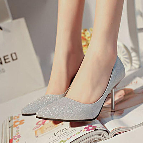 Stiletto Heel Pointed Toe Slip-On Sequin Casual Low-Cut Upper Thin Shoes