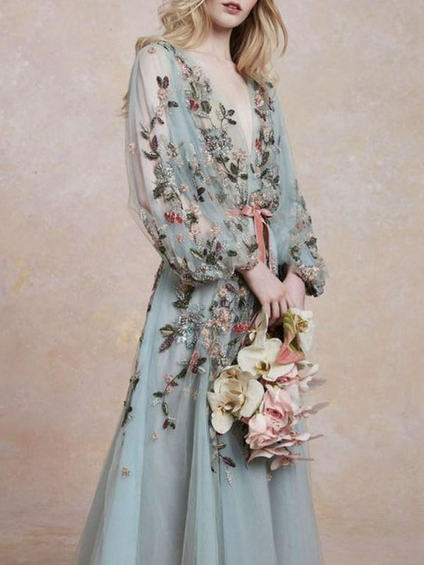 V-Neck Embroidery Long Sleeve Sweet A-Line Dress