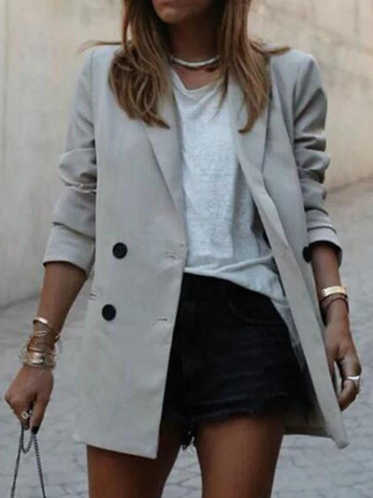 Plain Long Sleeve Mid-Length Casual Blazer