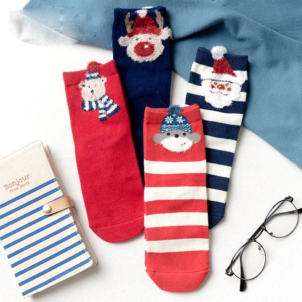 Warm Korean Winter Cartoon Regular Socks