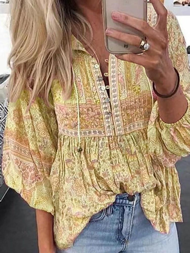 Floral Lantern Sleeve Print Three-Quarter Sleeve Mid-Length Blouse