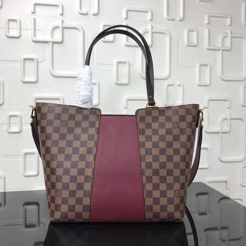 Plaid Leather Thread Square Tote Bags