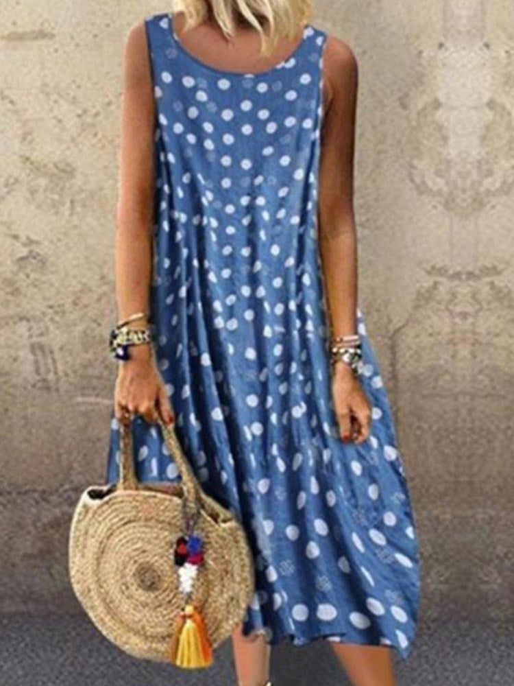 Sleeveless Mid-Calf Print Fashion Summer Dress