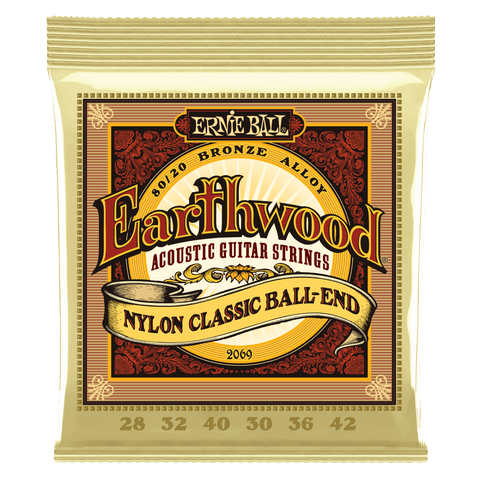 Ernie Ball Folk Nylon Classical Ball End, 80/20 Bronze