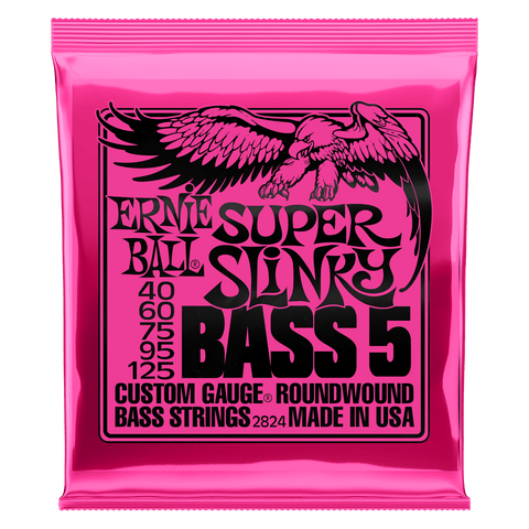 Ernie Ball 5 String Bass Strings Super Slinky Nickel Wound 40-125 Gauge
