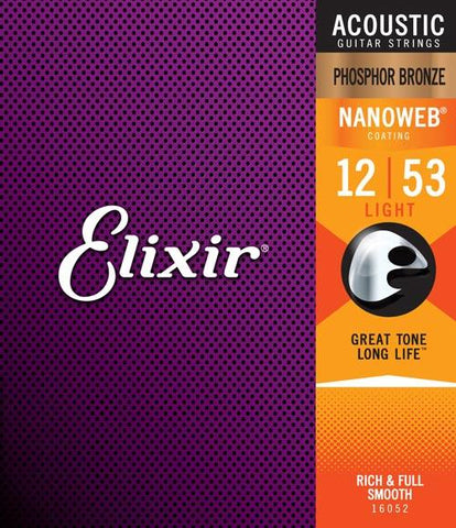 Elixir Acoustic Phosphor Bronze With Nanoweb Coating Light 12-53