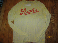 Stroh's Beer Detroit Distressed Yellow Long Sleeve T Shirt Large New With Tag
