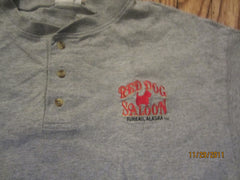 Red Dog Saloon Juneau Alaska Logo 3 Button T Shirt Large Beer