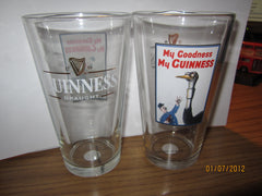 Guinness Ostrich & Policeman Vintage Ad Poster Pint Glass Ireland Beer Stout Irish