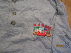 South Park Embroidered Logo Long Sleeve 3 Button Shirt Large