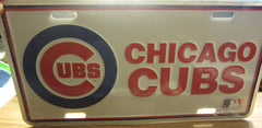 Chicago Cubs Classic Logo Metal License Plate Sealed