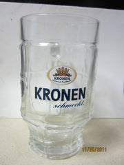 Kronen Schmeckt. 0.5ltr Heavyweight German Glass Beer Stein