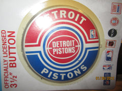 "Detroit Pistons Old Logo 3 1/2"" Pin Mint On Card"
